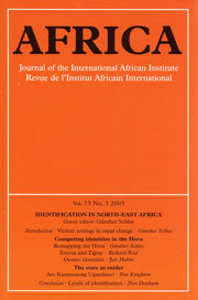 Identification in North-East Africa. Africa. Journal of the International African Institute, Vol. 73, No. 3