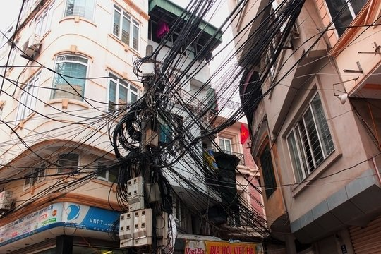 Entangled electric cables in Hanoi, Vietnam.