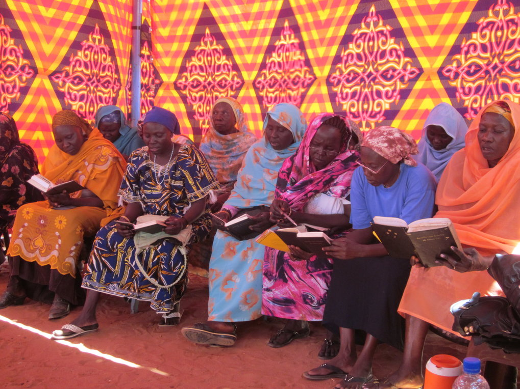 "<p>Nuba Moro Christian women reading from the Moro New Testament along with the preacher during the monthly ""Women's Day"" in Church. Literacy in Moro is a gendered strategy for social ascension within Moro society as well as a tool of opposition in an Arab-Islamic state.<br /><br />Photo: Siri Lamoureaux, Khartoum, Sudan, 2012<br />Max Planck Institute for Social Anthropology</p>"