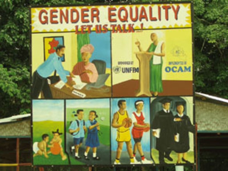 Post-war educational billboard, Liberia