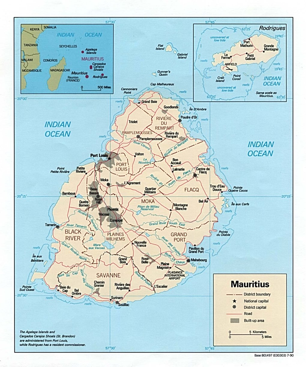 Political Map of Mauritius(Source: http://www.weltkarte.com/afrika/mauritius/landkarte-mauritius.htm - Public Domain Map)