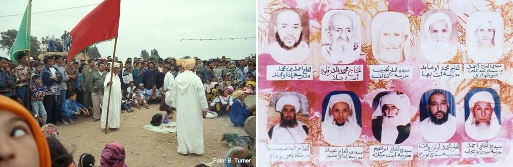 Isawa members intervening in local disputes during their annual trance dancing rituals (2003, left); respected fuqaha (Islamic experts) (postcard, right)