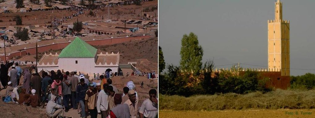 Sidi Ahmed ou Moussa annual pilgrimage (2003, left); village mosque in the Souss (2004, right)