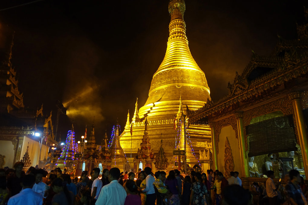 Annual Thadingyut festival at a Pagoda in Pathein, Myanmar.