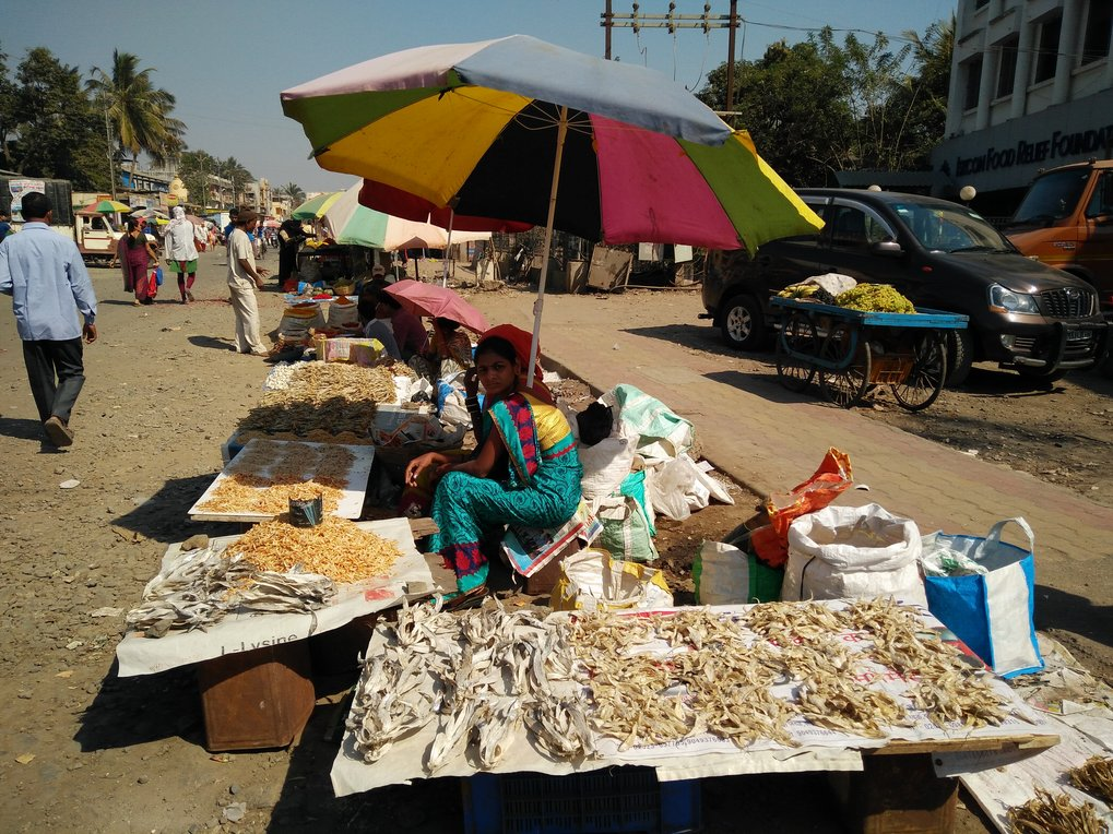Women selling dry fish at a market in Palghar, Maharashtra, India.