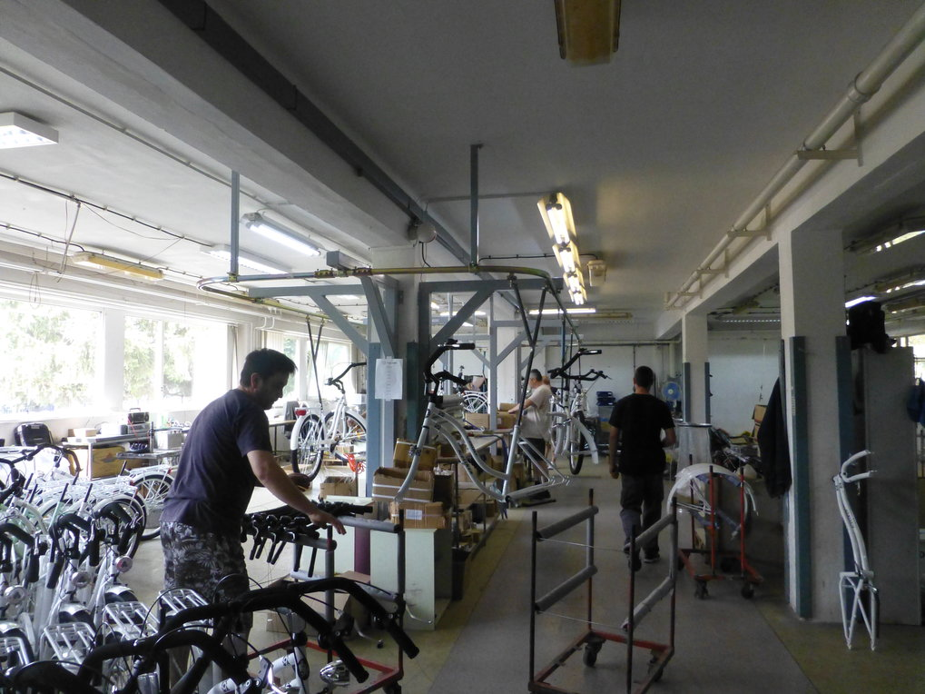 On the shop floor of the bicycle factory.