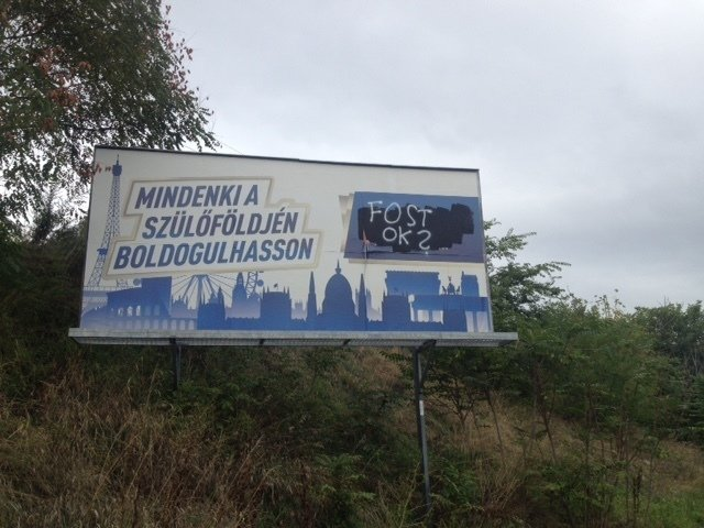 "A vandalized poster of the Jobbik party in Budapest: ""Everyone should be able to prosper in his/her homeland""."