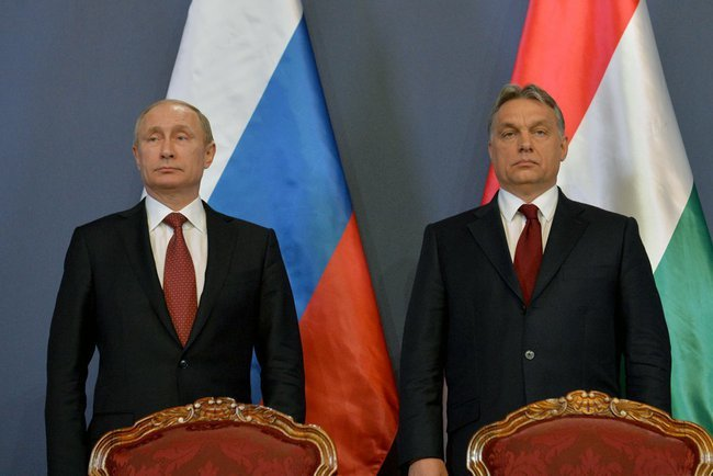 Vladimir Putin and Viktor Orbán in Hungary, February 2015