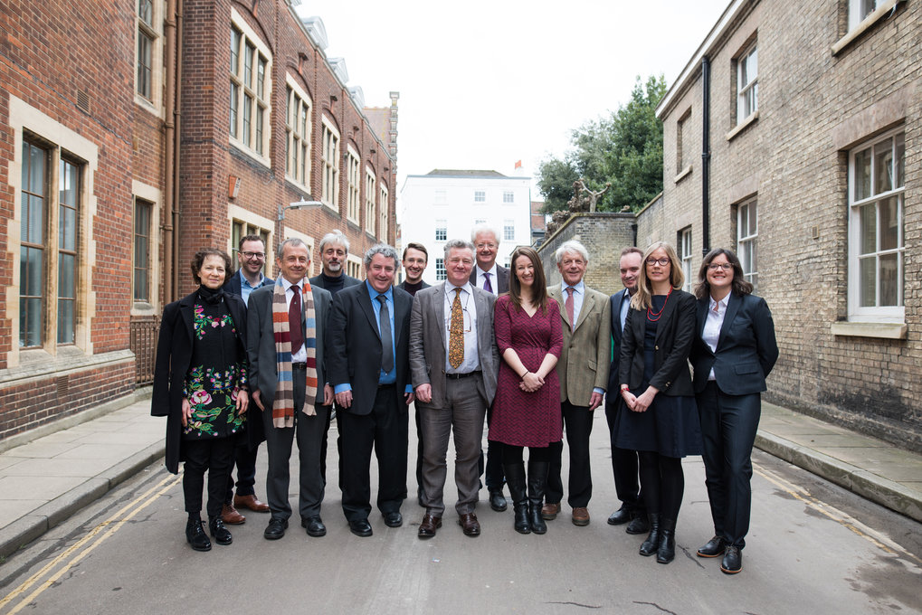 In Free School Lane, Cambridge, prior to the opening ceremony on 6 March, 2018: from the left, Susan Bayly (Advisory Board Member), Patrick McKearney (Postdoc, Cambridge), Chris Hann (Co-Director, Halle), Patrice Ladwig (Postdoc, Göttingen), Joel Robbins (Co-Director, Cambridge), Johannes Lenhard (Coordinator and Postdoc, Cambridge), James Laidlaw (Co-Director, Cambridge), Peter van der Veer (Co-Director, Göttingen), Sarah Grant (Administrator), Stephen Gudeman (Advisory Board Member), Samuel Williams (Postdoc, Halle), Anna-Riikka Kauppinen (Postdoc, Cambridge), Rachel Smith (Postdoc, Cambridge)