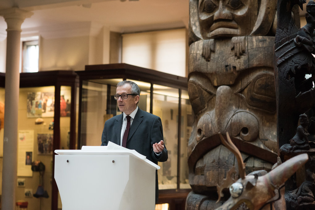 Chris Hann speaking at the opening ceremony in the Maudslay Hall of the Museum of Archaeology and Anthropology, Cambridge, 6 March 2018.