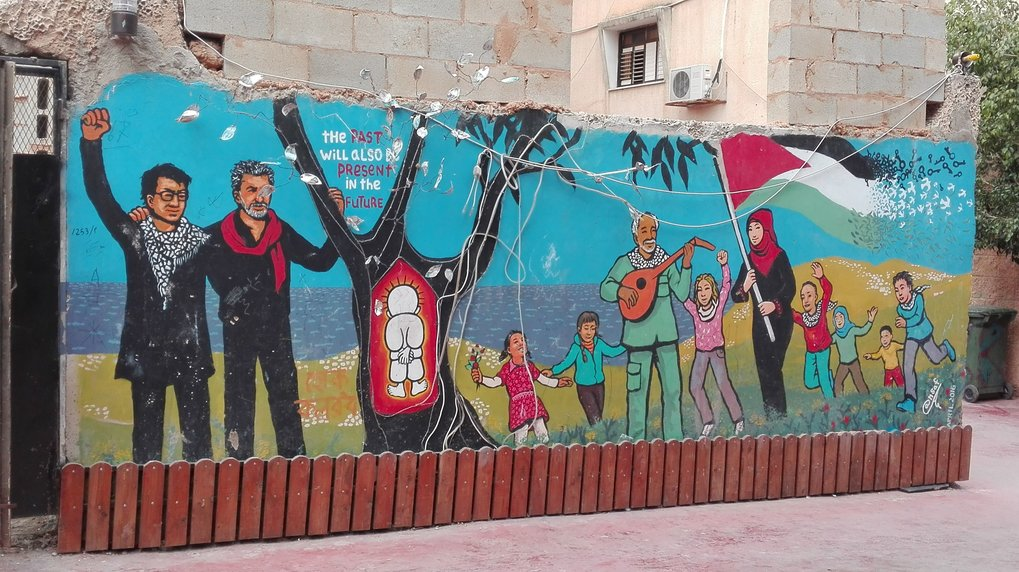 Mural painting at the entrance of the Freedom Theatre in the Jenin refugee camp. | Photo taken by Katharina Siebert, March 2018