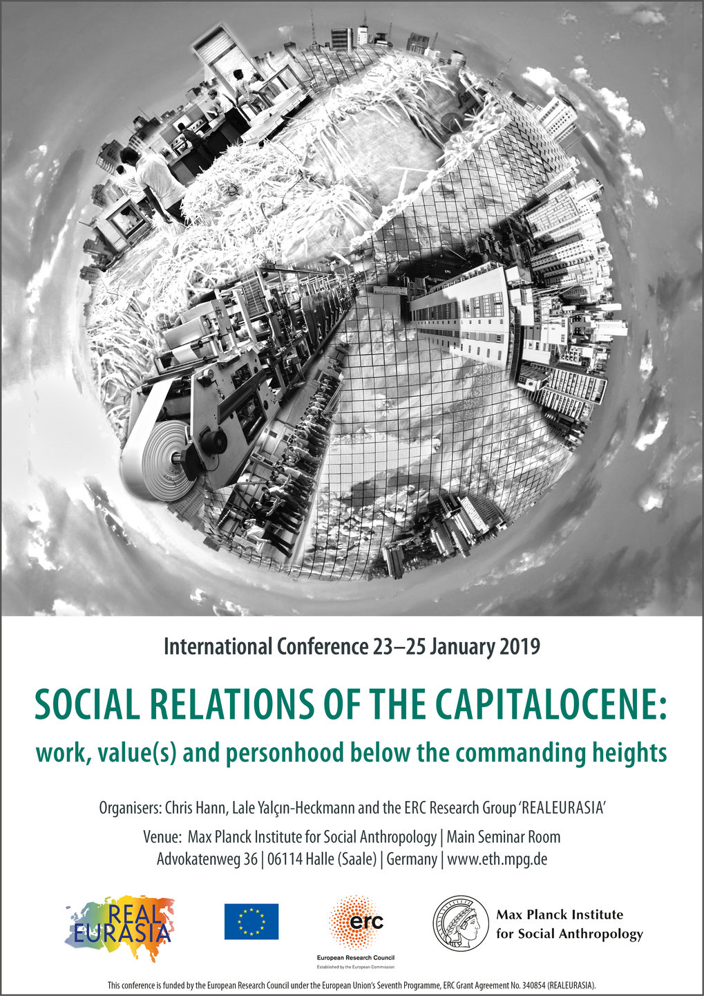 "Poster of the conference ""Social Relations of the Capitalocene: Work, Value(s) and Personhood Below the Commanding Heights"" held from 23 to 25 January 2019 at the Max Planck Institute for Social Anthropology."