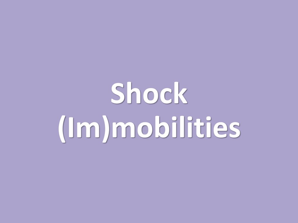 Shock (im)mobilities are dramatic incidents of mobilities and immobility caused by acute disruptions and uncertainties. The COVID-19 pandemic, for instance, led to lockdowns of unprecedented scale, which, in turn, triggered panicked flights in many instances. The patterns, duration, density, demographic composition, and temporal dynamics of shock mobilities remain a black box in many cases.