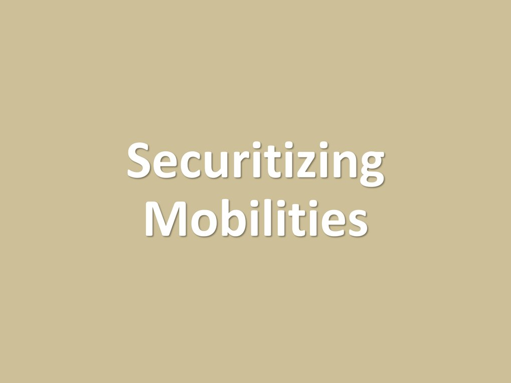 The securitization of mobilities is the effort to make mobilities safe for the state, the public and for the migrants themselves, though one party's safety is often another party's hazard. Specific measures include contact tracing; logistical intervention; contactless delivery; and traveller screening and qualification. These measures do not necessarily reduce mobilities, and a key goal of the securitization is to ensure continuous circulations of goods, capital and people as a basis of the economy.